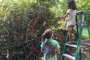 WEBS IN WOODS. 2015. Installation with artists ages 5-11 at the Community Art Center in Wallingford, PA.
